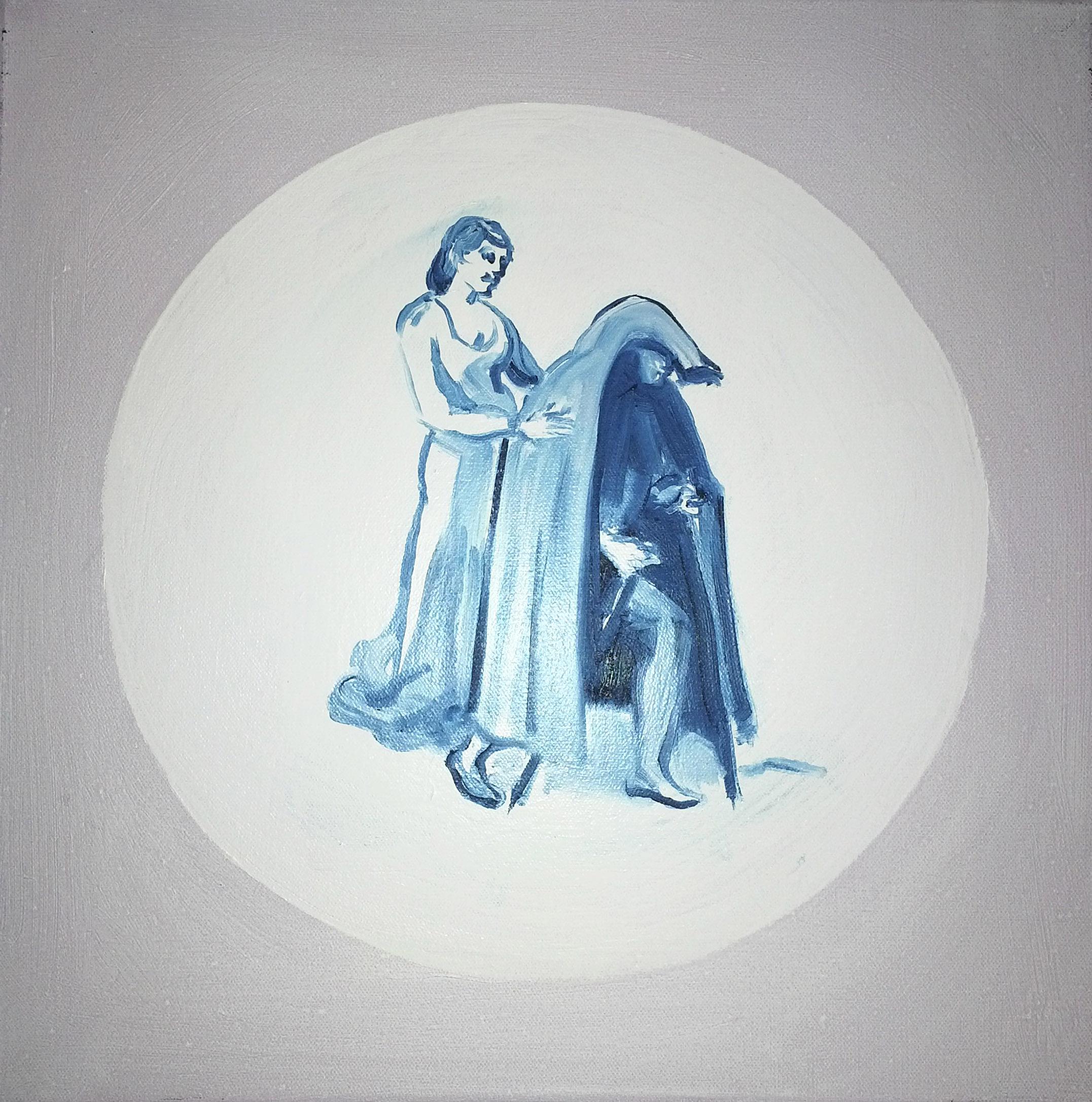 She puts the blue cloak on her husband