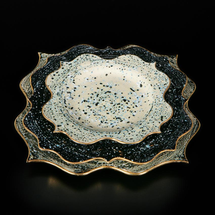 Rococo Dinner set - Black speckles
