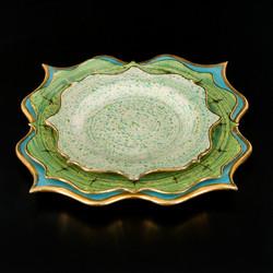 Rococo Dinner set - Green speckles