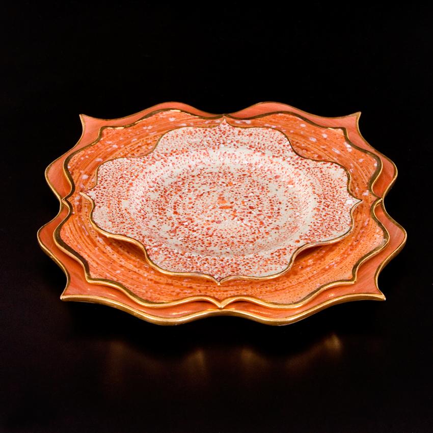 Rococo Dinner set - Orange speckles