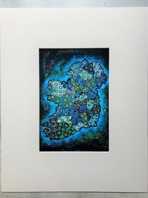 Ireland Map Dark Blue Mounted A4 Print