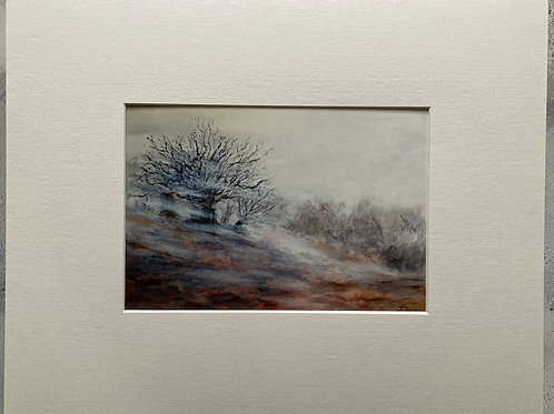 Misty Day in The Wicklow Mountains Mounted A4 Print