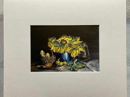Still Life of Sunflowers Mounted A4 Print