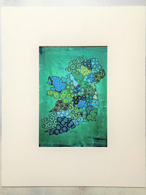 Ireland Map Green Mounted A4 Print
