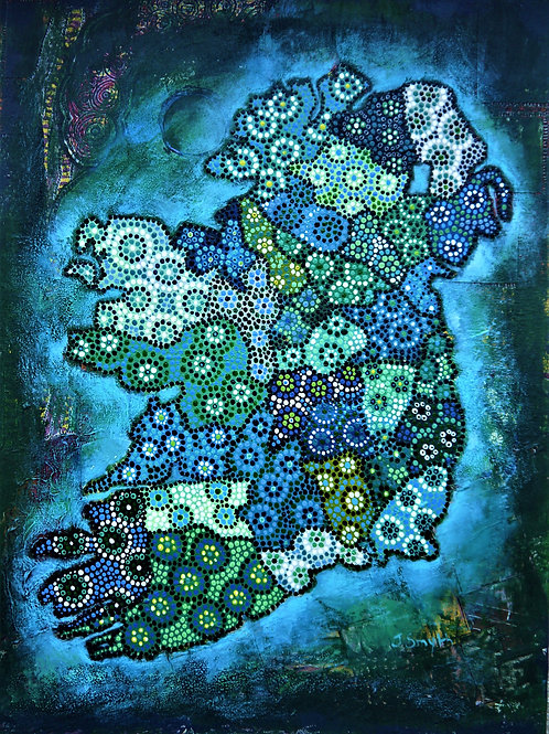 Ireland Map Dark Blue A3 Loose Print