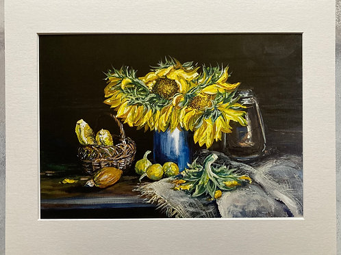 Still Life of Sunflowers Mounted A3 Print