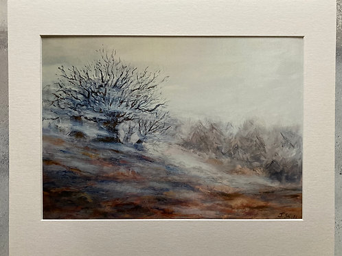 Misty Day in The Wicklow Mountains Mounted A3 Print