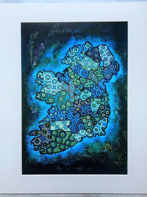 Ireland Map Dark Blue Mounted A3 Print