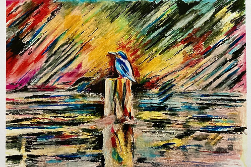 Kingfisher on The Lagan A3 Loose Print