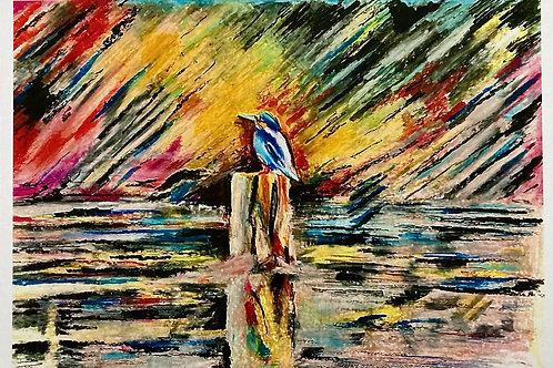Kingfisher on The Lagan A4 Loose Print