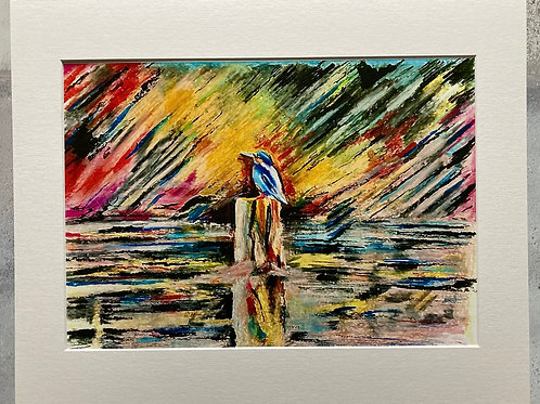 Kingfisher on The Lagan Mounted A3 Print