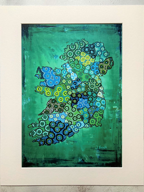 Ireland Map Green Mounted A3 Print