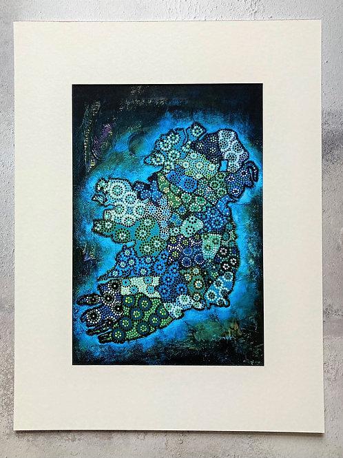 Ireland Map Dark Blue Mounted A4 Print (small mount)
