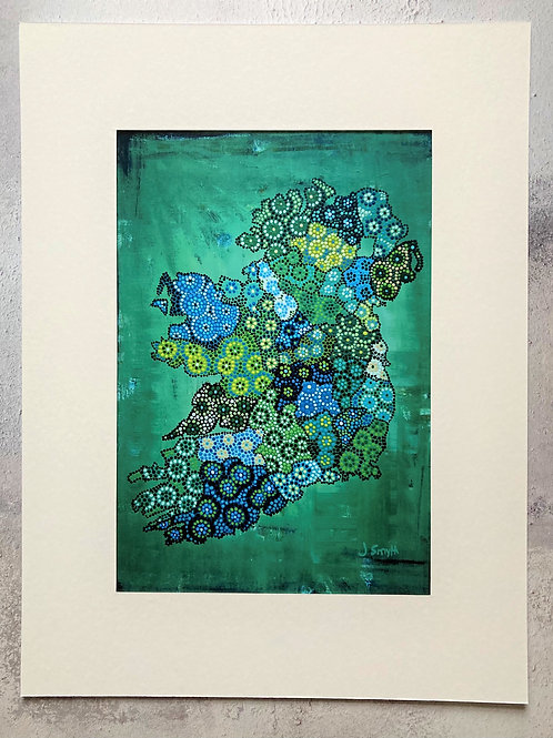 Ireland Map Green Mounted A4 Print (small mount)