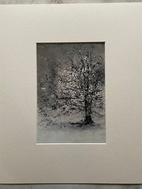 Snow Storm Mounted A4 Print