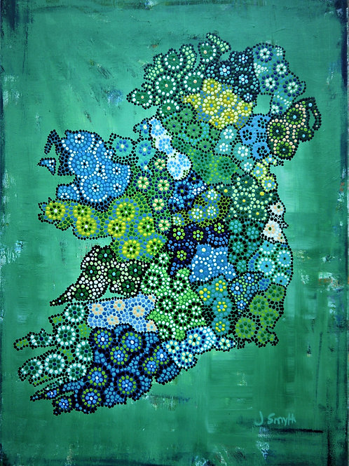 Ireland Map Green A4 Loose Print