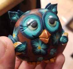 Teal and Brown Owl