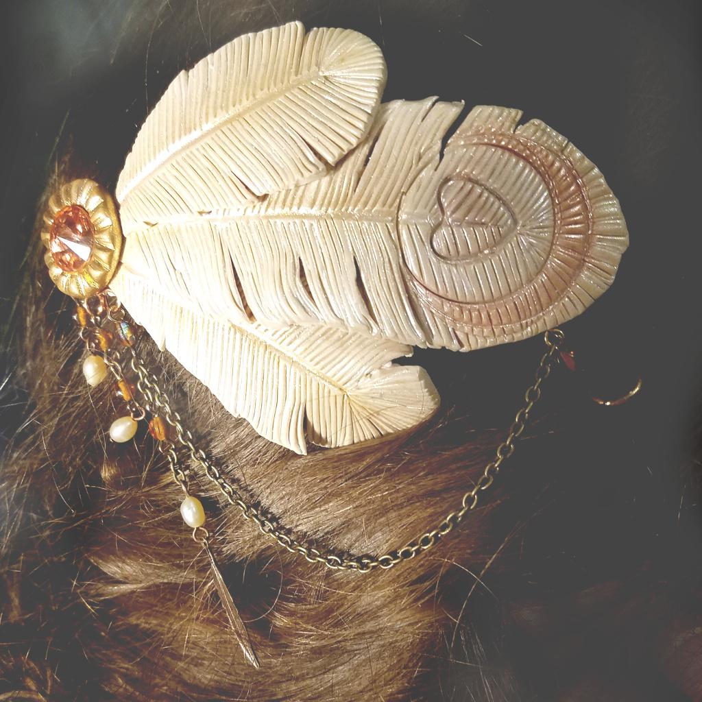 Ornate White Peacock Hair Jewelry