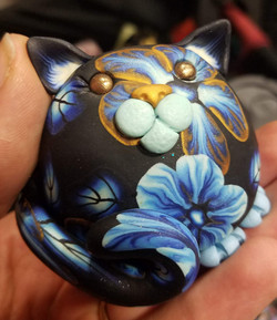 Blue and Gold Floral Cat