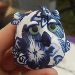 Blue White Floral Owl