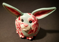 Red. White, and Sky Floral Bunny