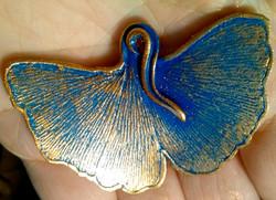 Cobalt and Gold Gingko Leaf