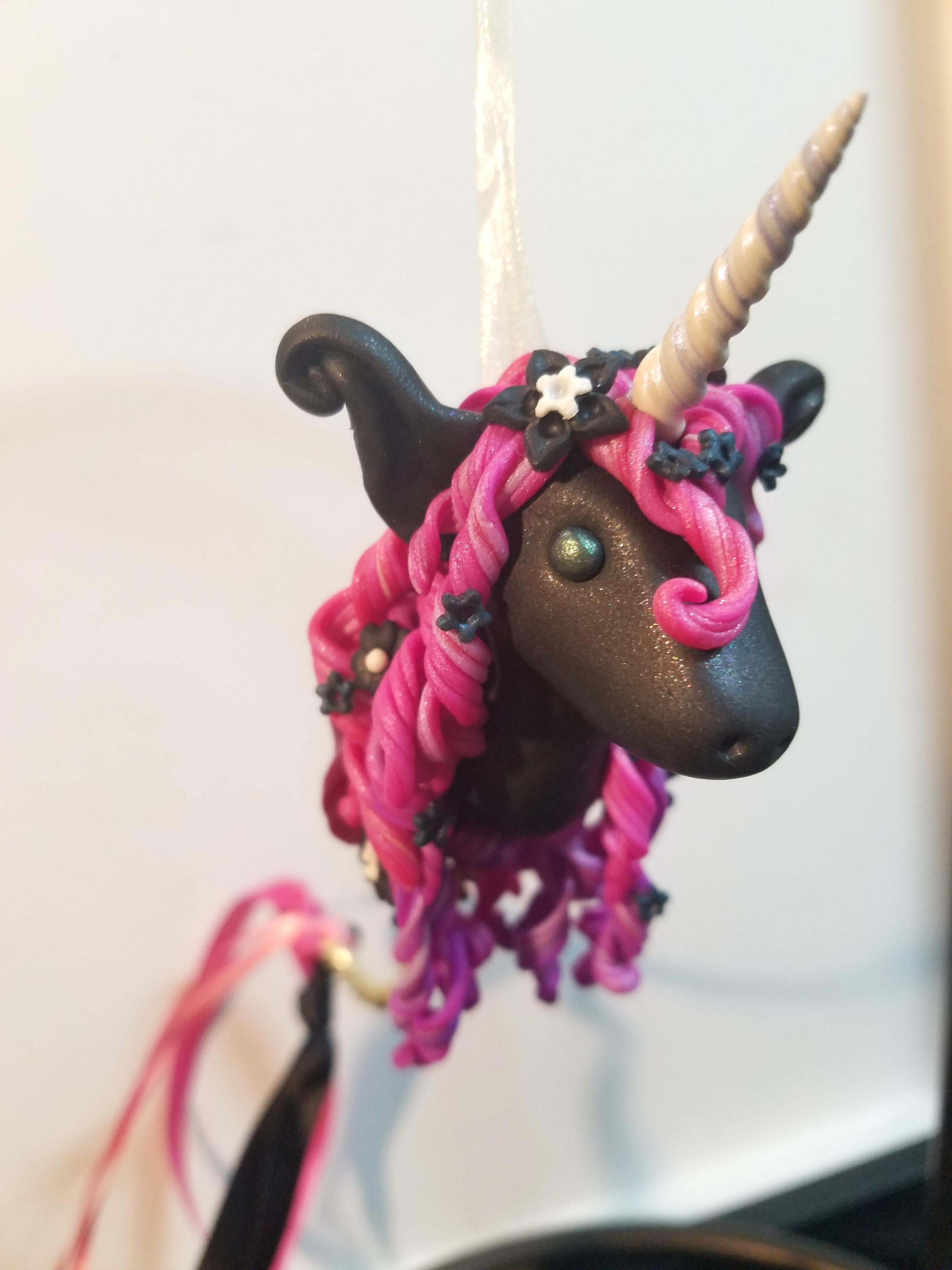 Unicornament - Black and Fuschia