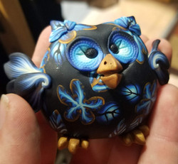 Blue and Gold Floral Owl