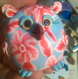 Red White and Sky Floral Owl