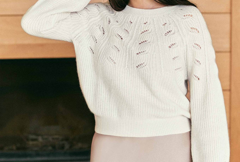 White and Warren Lace Pointelle Crewneck