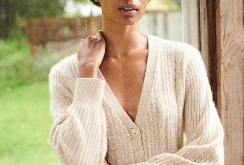 White and Warren Cable V Neck Cardigan