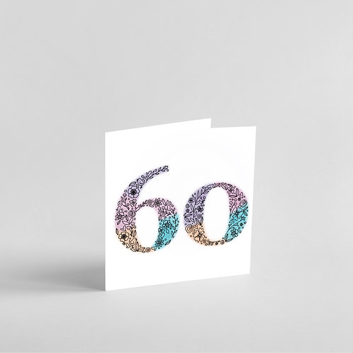 Handmade 60th Birthday Card. Elegant Floral Design.