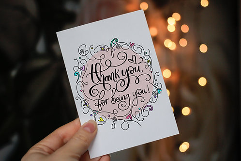Handmade 'Thank You for Being You!' Notecard and Envelope