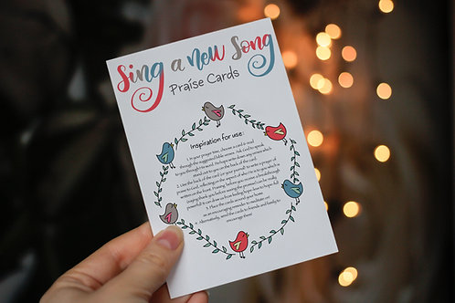 Sing A New Song Praise Cards | Pack of 11 Cards | Journaling Cards