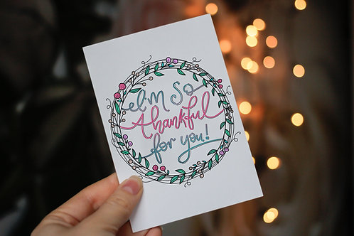 Handmade 'I'm so Thankful for You!' Notecard and Envelope