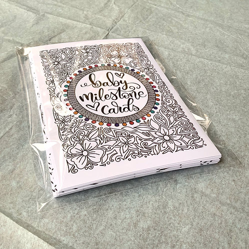 Handmade Baby Milestone Cards-Black and White with a Splash of Colour!