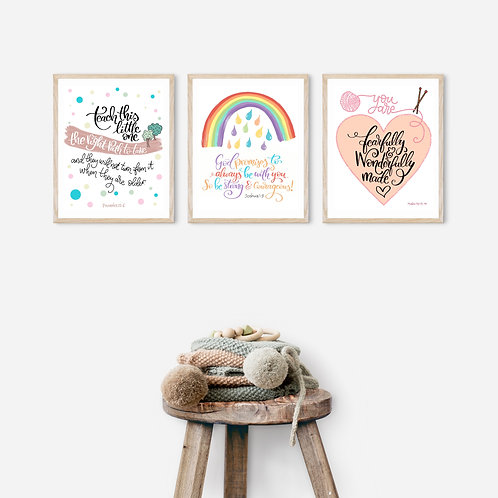 Set of 3 Unframed Nursery Prints -8 x 10 inches