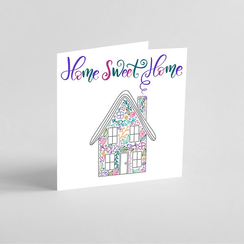 Handmade New Home Card. Home Sweet Home, intricate patterns in house shape.