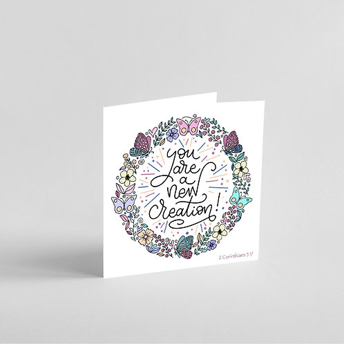 You Are a New Creation! Handmade Baptism Card
