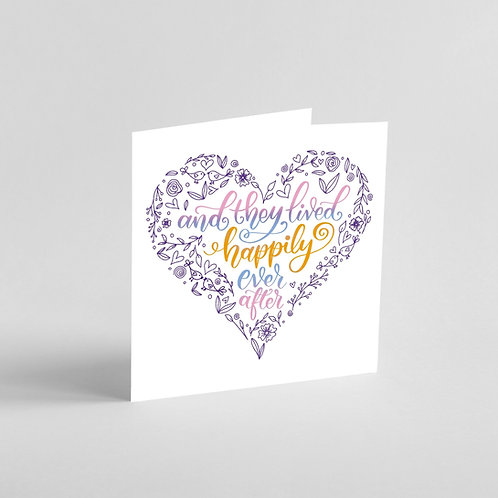Handmade Wedding Card. Intricate patterns in a heart shape.