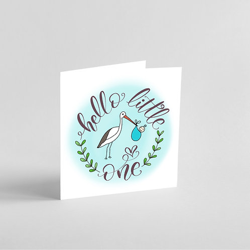 Handmade New Baby Boy Card (blue)-Stork holding baby bundle.