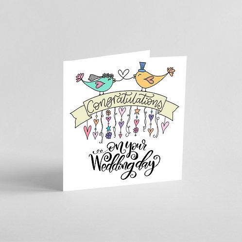 Handmade Wedding Card-Love birds and congratulations banner.