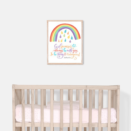 God Promises to Always Be With You - Unframed 8 x 10 inch Nursery Print