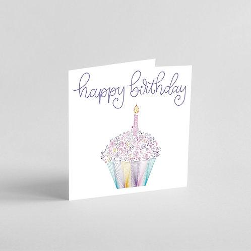 Handmade Happy Birthday Cupcake Design with Intricate Patterns.