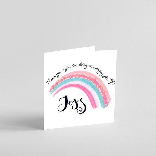 Personalised Thank you Key Worker Hand Designed Card