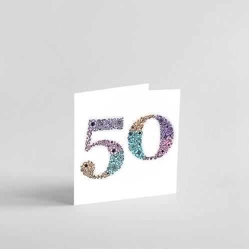 Handmade 50th Birthday Card. Elegant Floral Design