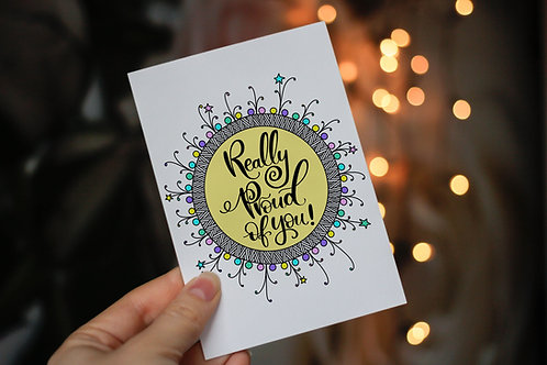 Handmade 'Really Proud of You!' Notecard and Envelope