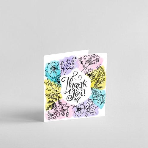 Thank You Card - Watercolour & Ink Design