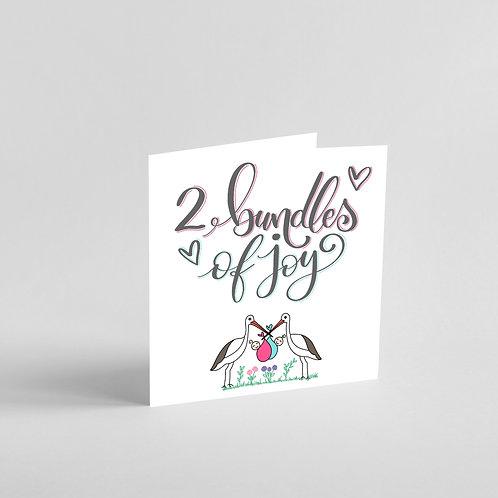 2 Bundles of Joy-Handmade Twin Baby Card