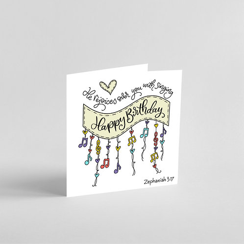 He Rejoices Over You With Singing-Handmade Birthday Card